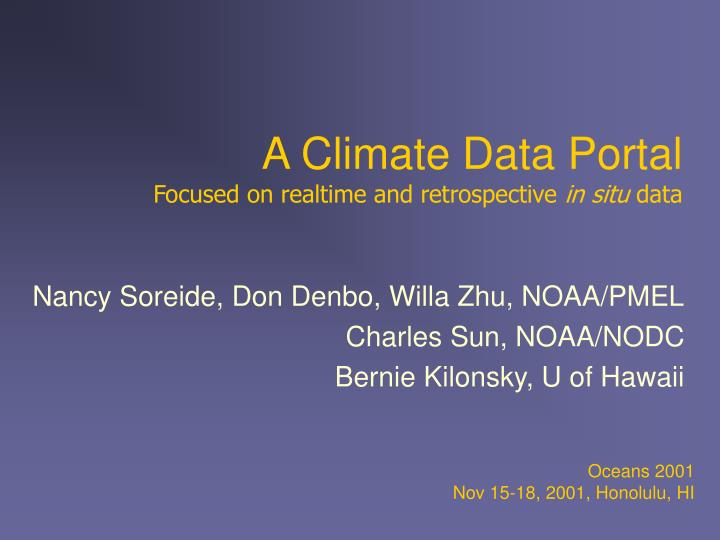 a climate data portal focused on realtime and retrospective in situ data n.