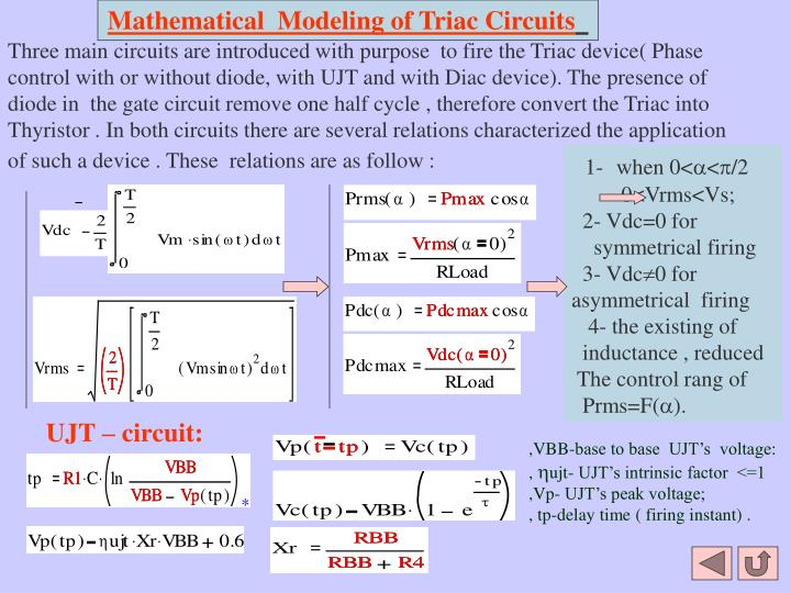 Mathematical  Modeling of Triac Circuits