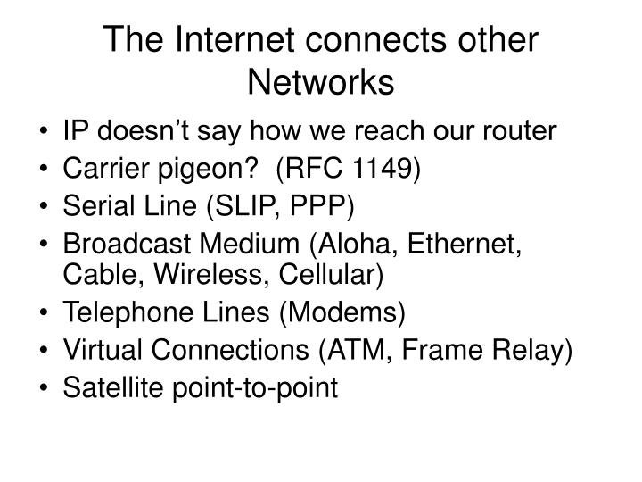 The Internet connects other Networks
