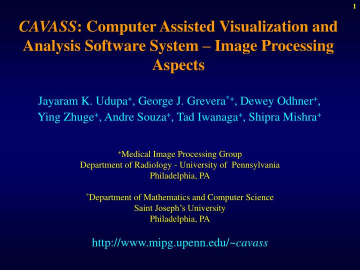 cavass computer assisted visualization and analysis software system image processing aspects n.