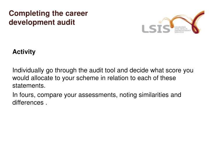 Completing the career development audit