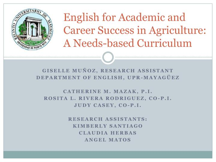 english for academic and career success in agriculture a needs based curriculum n.