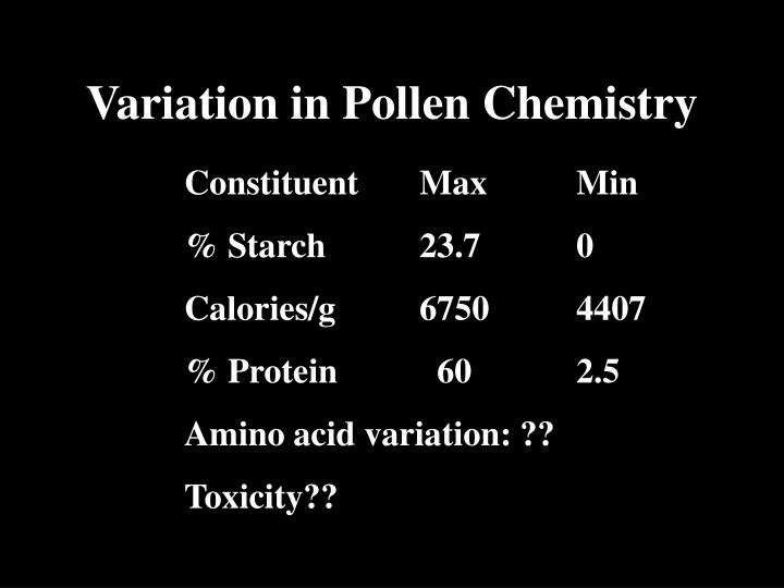 Variation in Pollen Chemistry