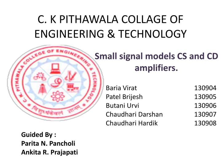 c k pithawala collage of engineering technology n.