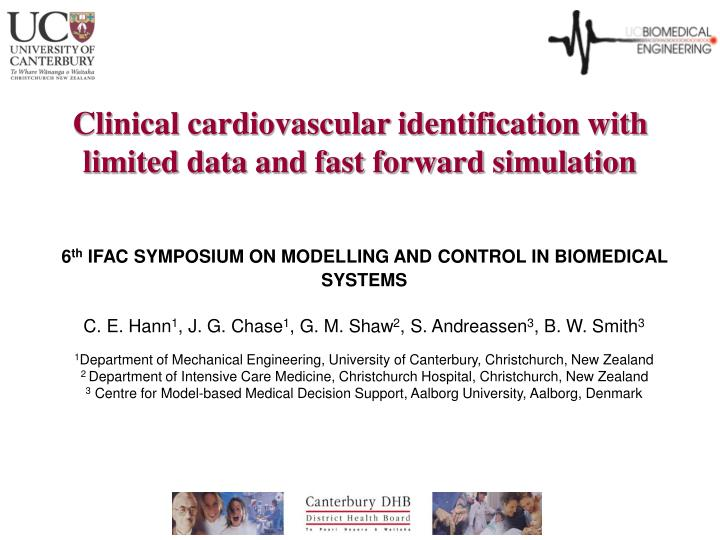 clinical cardiovascular identification with limited data and fast forward simulation n.