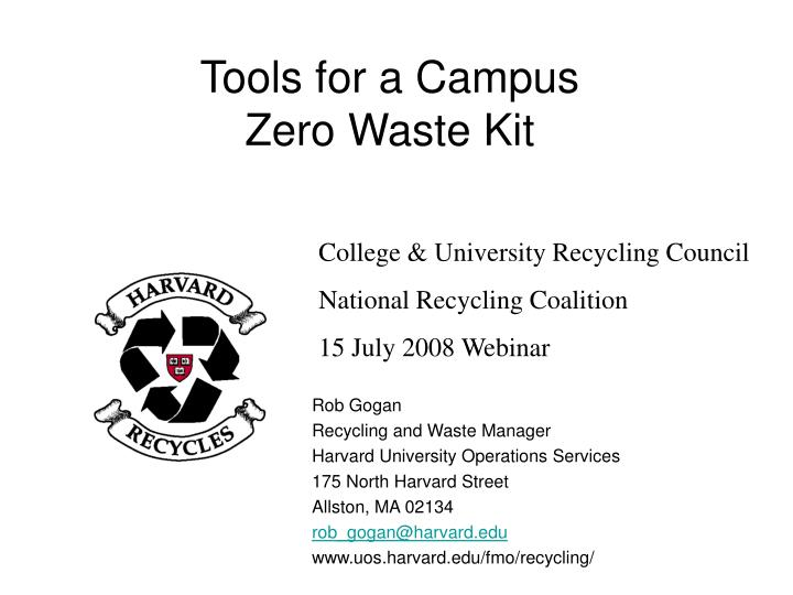 tools for a campus zero waste kit n.