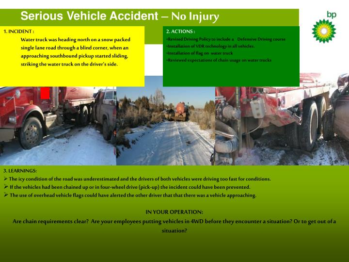 serious vehicle accident no injury n.