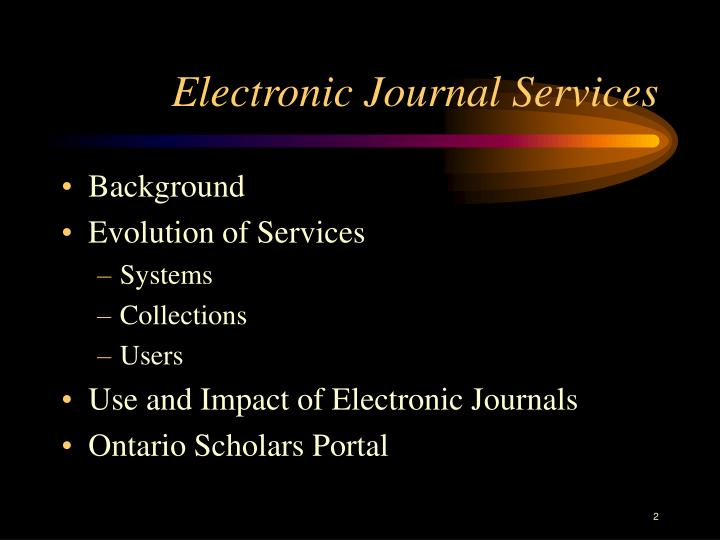 Electronic journal services