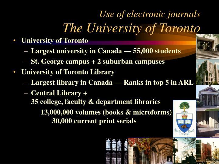 Use of electronic journals