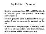 key points to observe