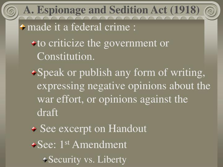 us sedition act 1918 Freedom of speech is something that we accept as a guaranteed right in the united states it is in the very first amendment in our bill of rights, and we exercise our.