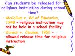 can students be released for religious instruction during school time
