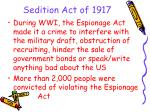 sedition act of 1917
