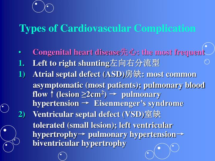 Types of Cardiovascular Complication