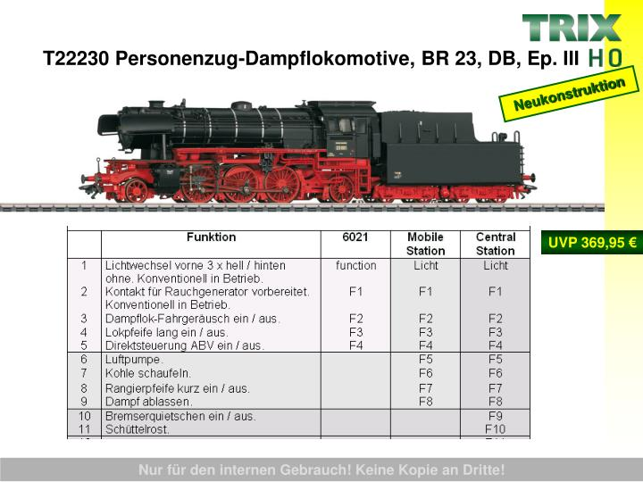 T22230 Personenzug-Dampflokomotive, BR 23, DB, Ep. III