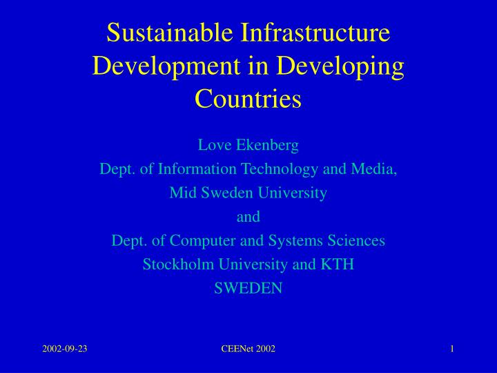 sustainable infrastructure development in developing countries n.