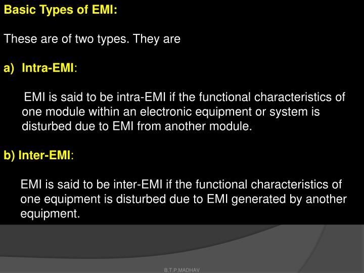 Basic Types of EMI: