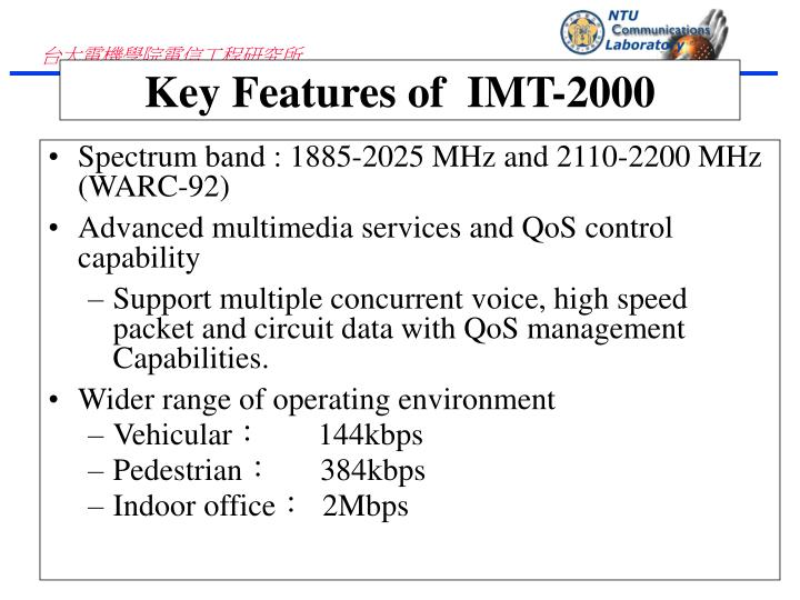 Spectrum band : 1885-2025 MHz and 2110-2200 MHz (WARC-92)