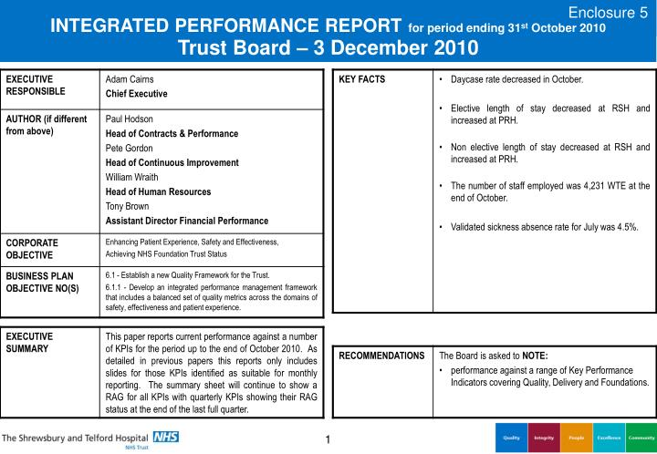 integrated performance report for period ending 31 st october 2010 trust board 3 december 2010 n.