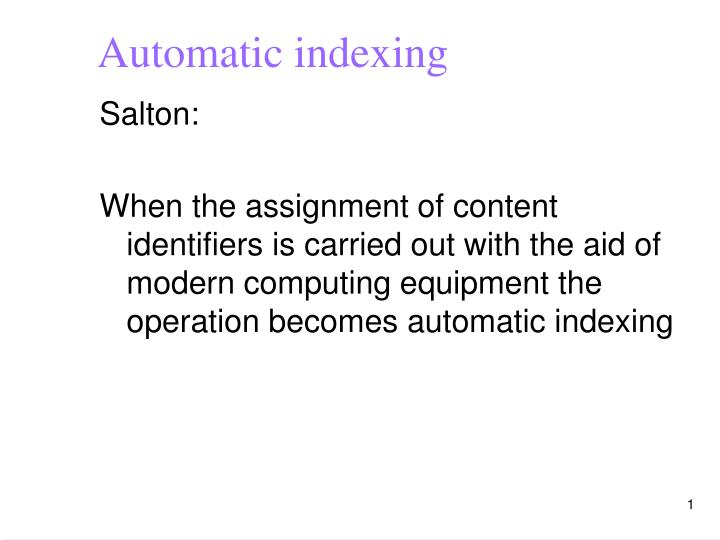 automatic indexing n.