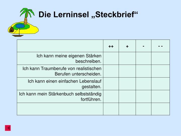 """Die Lerninsel """"Steckbrief"""""""