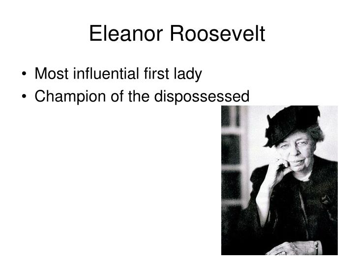a description of eleanor roosevelt as one of the most admired first lady ever Eleanor roosevelt's most notable accomplishments include transforming the role of the first lady, co-founding val-kill industries and overseeing the drafting of the universal human declaration of rights.