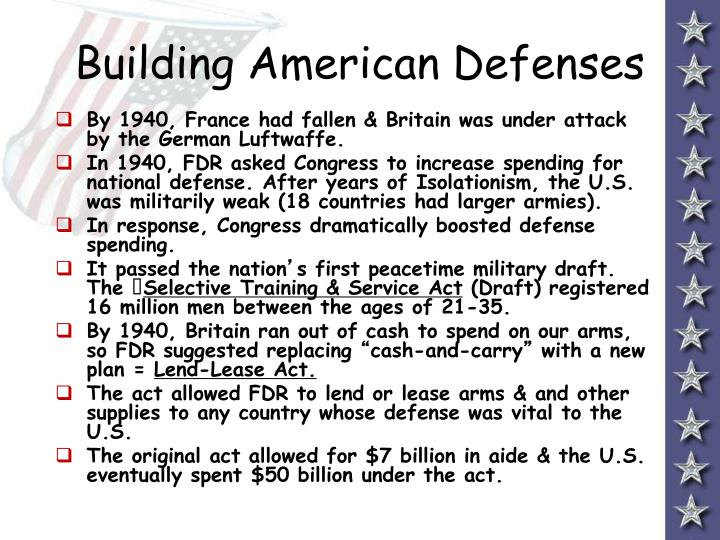 Building american defenses