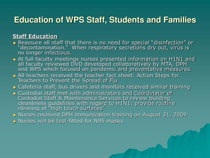 Education of WPS Staff, Students and Families