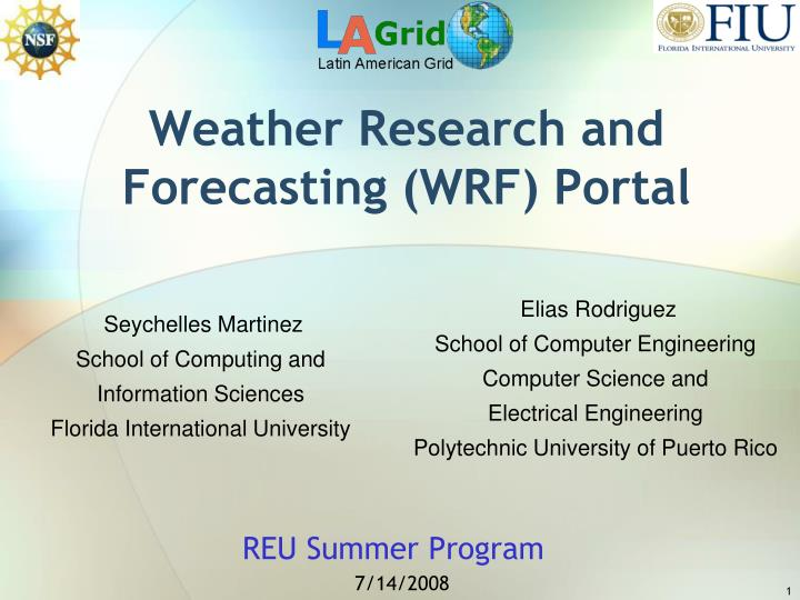 weather research and forecasting wrf portal n.