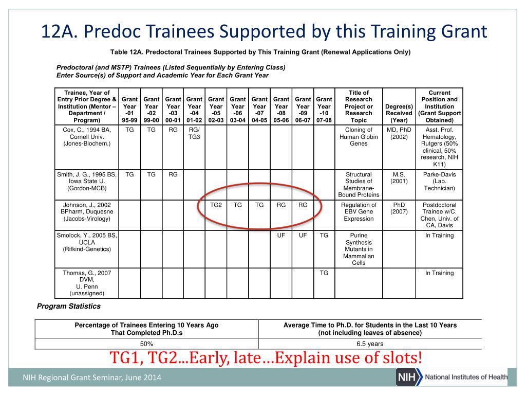 PPT - NIH Institutional Training Programs: Preparing a