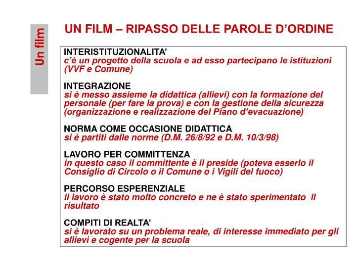 UN FILM – RIPASSO DELLE PAROLE D'ORDINE