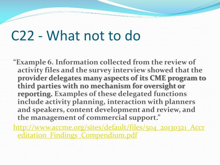 C22 - What not to do