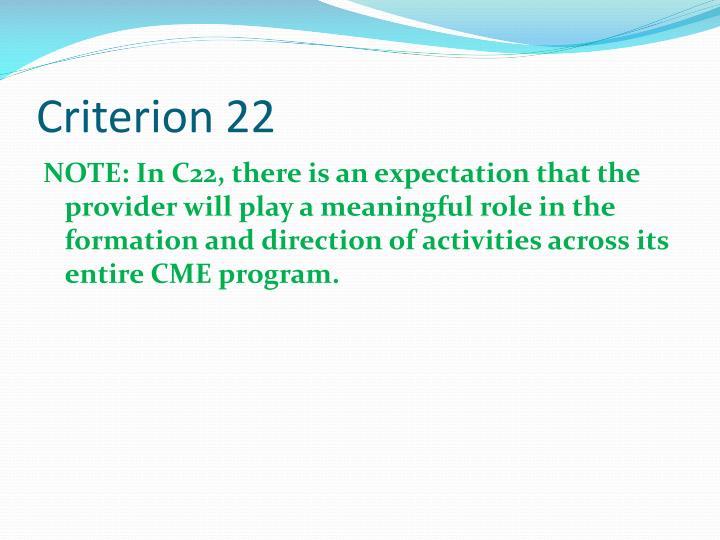 Criterion 22