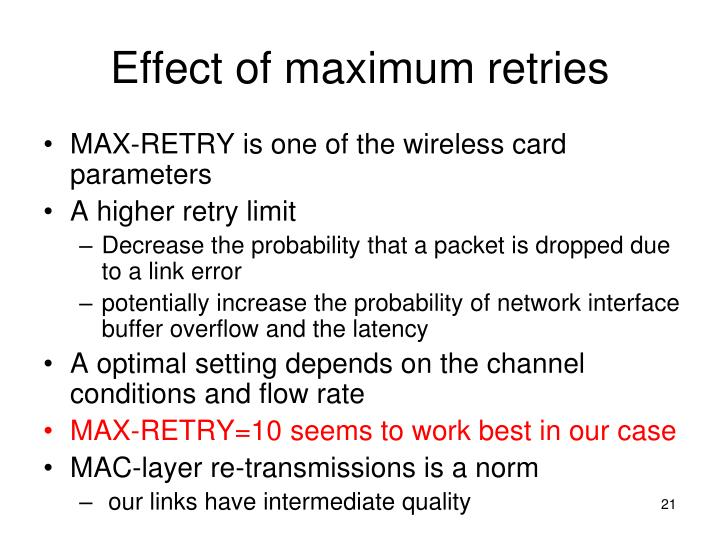 Effect of maximum retries