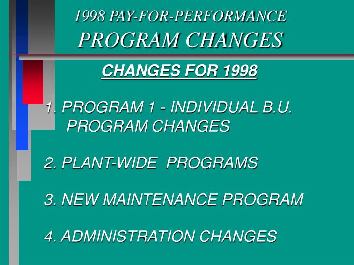 1998 pay for performance program changes n.