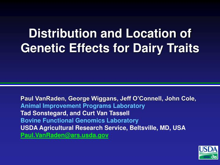 distribution and location of genetic effects for dairy traits n.
