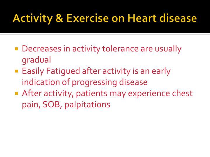 Activity & Exercise on Heart disease