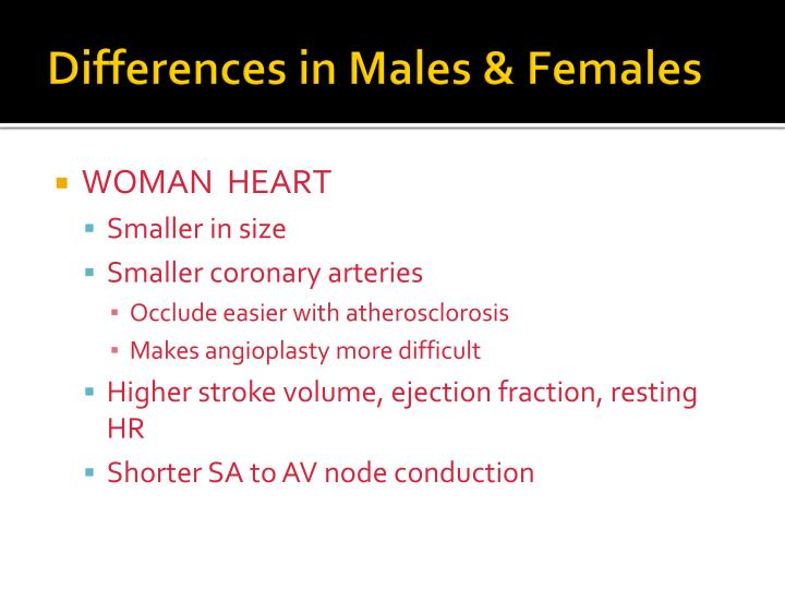 Differences in Males & Females