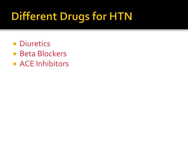 Different Drugs for HTN