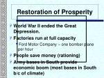 restoration of prosperity