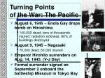 turning points of the war the pacific