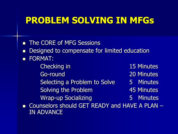 PROBLEM SOLVING IN MFGs