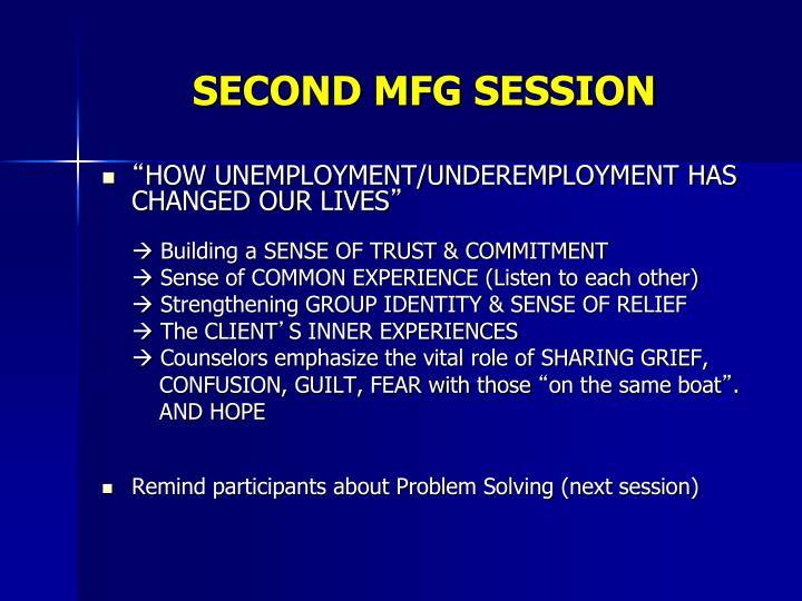 SECOND MFG SESSION