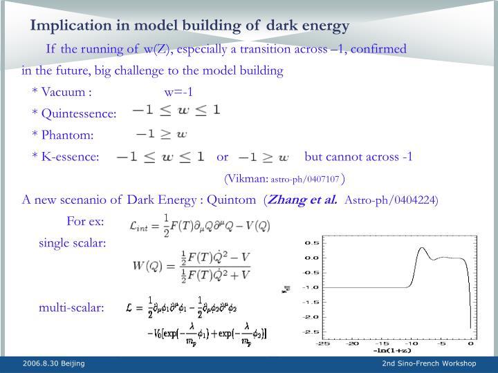Implication in model building of dark energy