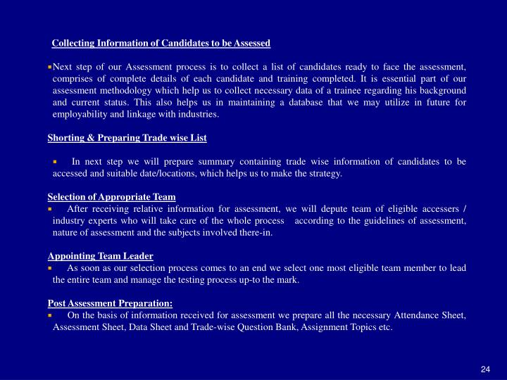 Collecting Information of Candidates to be Assessed