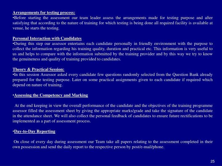 Arrangements for testing process: