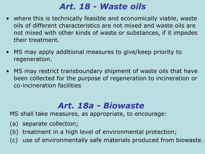 Art. 18 - Waste oils