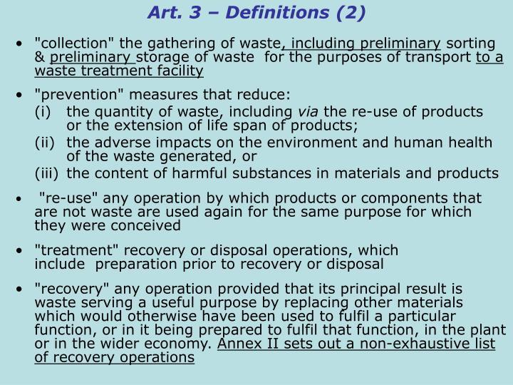 Art. 3 – Definitions (2)