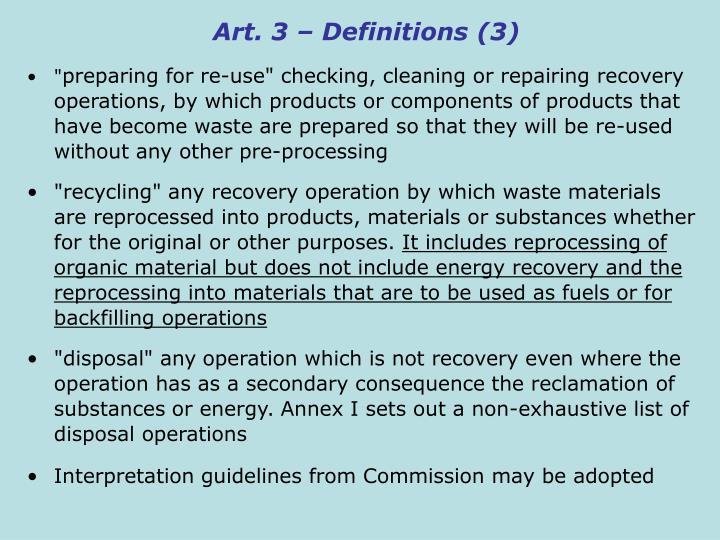 Art. 3 – Definitions (3)
