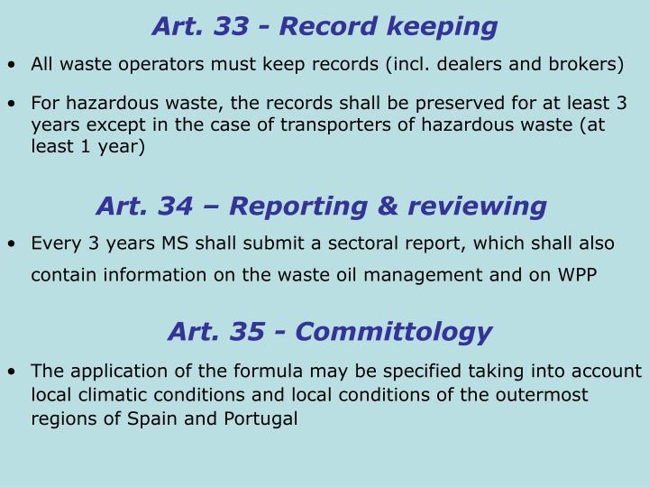 Art. 33 - Record keeping